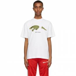 Palm Angels White Croco T-Shirt PMAA001R21JER0020155