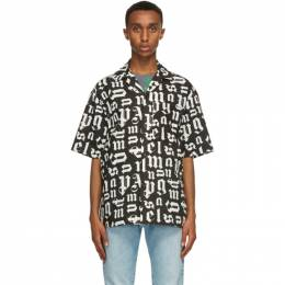 Palm Angels Black and White Bowling Short Sleeve Shirt PMGA037R21FAB0021001