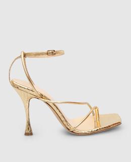 Золотистые кожаные босоножки Magda Butrym 2300006475764