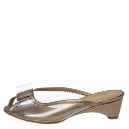 Stuart Weitzman Gold and Clear PVC Mules Size 36.5 367172
