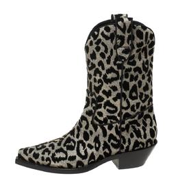 Dolce&Gabbana Black/Grey Shimmering Leopard Laurex Fabric Cowboy Boots Size 40 368017