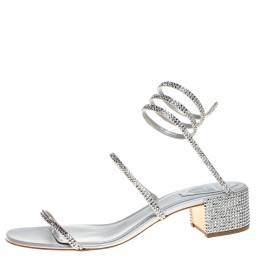 Rene Caovilla Silver Satin and Leather Cleo Crystal Embellished Sandals Size 40 367343