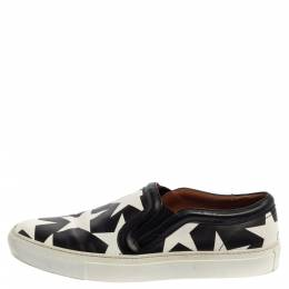 Givenchy Black And White Leather Star Print Skate Slip On Sneakers Size 39 368099