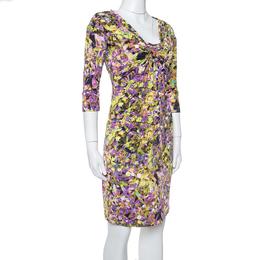 Roberto Cavalli Multicolor Printed Jersey Brooch Detail Dress M 367228