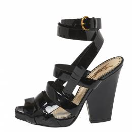 Saint Laurent Black Patent Leather Ankle Wrap Sandals Size 37 Yves Saint Laurent 367863