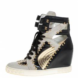 Casadei Tricolor Suede And Leather Studded High Top Wedge Sneakers Size 39 367956