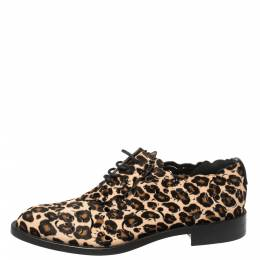 Roger Vivier Brown Animal Print Calf Hair Laser Cut Lace Up Derby Oxford Size 40 368045