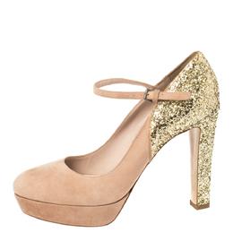 Miu Miu Beige/Gold Suede and Glitter Mary Jane Platform Pumps Size39 368261