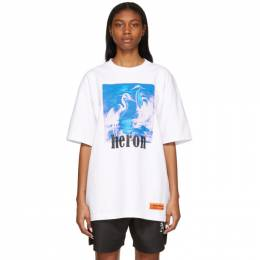 Heron Preston White and Blue Herons T-Shirt HMAA020R21JER0040149