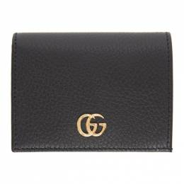Gucci Black Small GG Marmont Card Case Wallet 456126 CAO0G