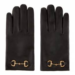 Gucci Black Leather Horsebit Gloves 645494 BAP00