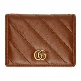 Gucci Brown Diagonal GG Marmont 2.0 Card Case 466492 0OLFT