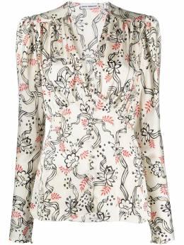 Paco Rabanne блузка с цветочным принтом и пышными рукавами 21PCTO114PO0208