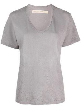 Raquel Allegra футболка с эффектом потертости и V-образным вырезом 1754TD
