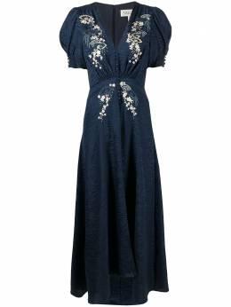Saloni расклешенное платье с цветочной вышивкой 1764