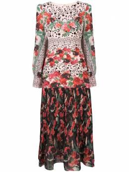 Saloni платье в горох с цветочным принтом 1431