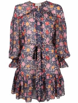 Saloni расклешенное платье с цветочным принтом 10447
