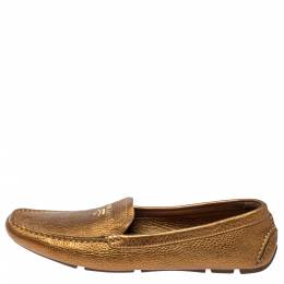 Prada Gold Leather Loafers Size 38.5 367571