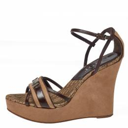 Dior Brown/Beige Leather and Nubuck Diorissimo Wedge Platform Sandals Size 38.5 368358
