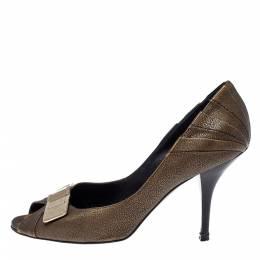 Dior Khaki Brown Leather Metal Detail Peep Toe Pumps Size 39.5 368324
