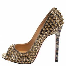 Christian Louboutin Gold Glitter Spike Peep Toe Pumps Size 36 368438