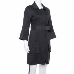 Chloe Black Linen Satin Detail Knee Length Coat M 367997