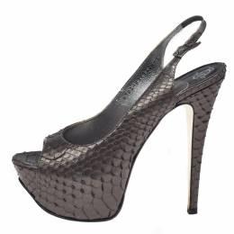 Gina Metallic Python Gemma Peep Toe Platform Slingback Sandals Size 38 368471