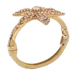 Oscar De La Renta Crystal Embedded Gold Tone Starfish Bracelet 365246