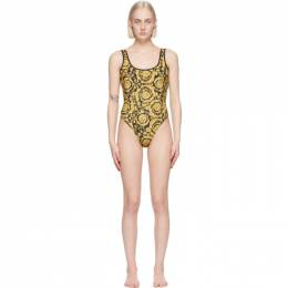 Versace Underwear Black and Yellow Barocco One-Piece Swimsuit ABD05030_A235870_A790
