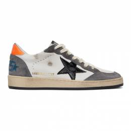 Golden Goose White and Grey Ball Star Sneakers GMF00117.F000386.803