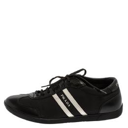 Prada Black/White Nylon And Leather Low Top Sneakers Size 42 Prada Sport 368813