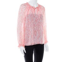 Diane Von Furstenberg Pink Coral Print Silk Wynn Blouse M 368815