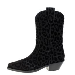 Dolce&Gabbana Black Animal Print Lurex and Velvet Cowboy Boots Size 37.5 368340