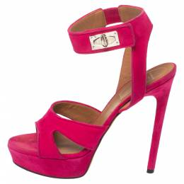 Givenchy Fuchsia Suede Shark Tooth Ankle Strap Platform Sandals Size 39 368359
