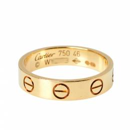 Cartier Love 18K Yellow Gold Narrow Wedding Band Ring Size 46 367308