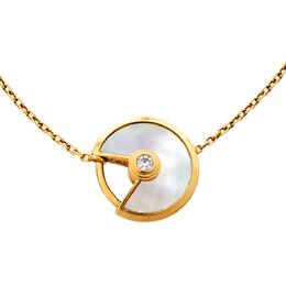 Cartier Amulette De Cartier White Mother of Pearl & Diamond 18k Yellow Gold XS Bracelet 366660