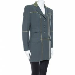 Hermes Uniform Green Wool & Velvet Collar Detail Knee Length Vintage Coat L 368608