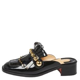 Christian Louboutin Black Patent Leather Octavian Mules Sandals Size 37 368101
