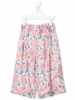 Chloe Kids брюки палаццо с цветочным принтом C14624Z46