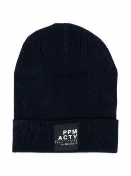 Paolo Pecora Kids шапка бини в рубчик с нашивкой-логотипом PP2518