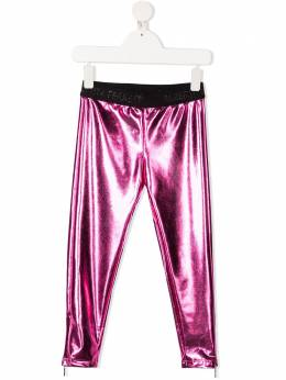 Alberta Ferretti Kids спортивные брюки с логотипом на поясе и эффектом металлик 025417