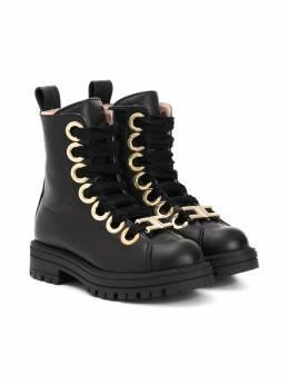 Elisabetta Franchi La Mia Bambina ботинки на шнуровке с люверсами 66773