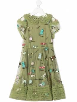 Fendi Kids платье с принтом JFB396ACMC