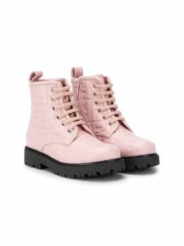 Fendi Kids ботинки на шнуровке с монограммой JMR338AADS
