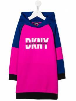 DKNY Kids платье в стиле колор-блок с капюшоном и логотипом D3277149E