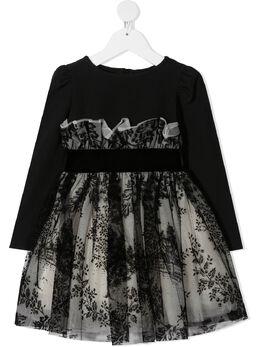 Monnalisa платье с завышенной талией и тюлем 716917A86905