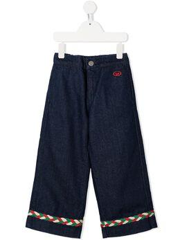 Gucci Kids широкие джинсы с плетеным декором 621810XDBDB