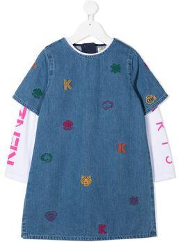 Kenzo Kids джинсовое платье с вышивкой KR30098