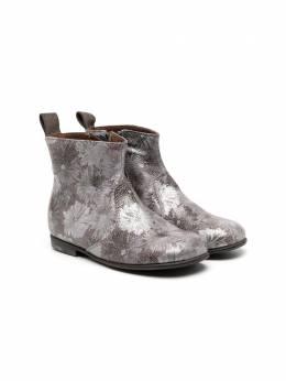 Pepe ботинки с цветочным принтом и эффектом металлик 1204