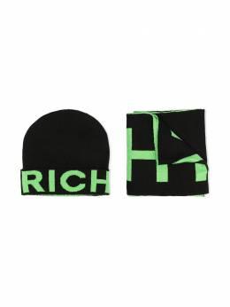 John Richmond Junior комплект из шарфа и шапки вязки интарсия RBA20273CO